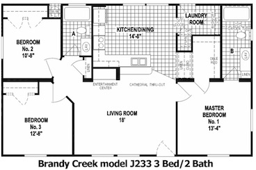 Brandy Creek Floor Plan | Model J233 | Cousin Gary Homes