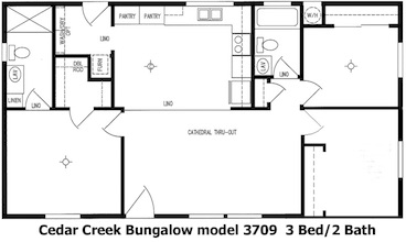 Cedar Creek Bungalow Floor Plan | Model 3709 | Cousin Gary Homes