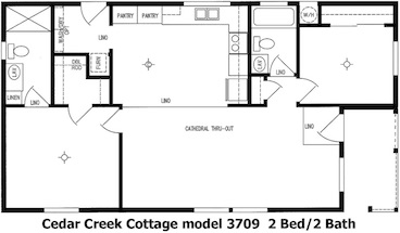 Cedar Creek Cottage Floor Plan | Model 3709 | Cousin Gary Homes