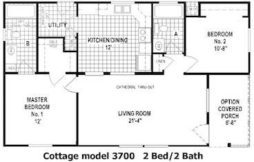 The Cottage Floor Plan | Model 3700 | Cousin Gary Homes