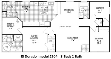 The El Dorado Floor Plan | Model J204 | Cousin Gary Homes
