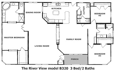 The River View Floor Plan | Model J231 | Cousin Gary Homes