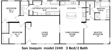 The San Joaquin Floor Plan | Model J249 | Cousin Gary Homes