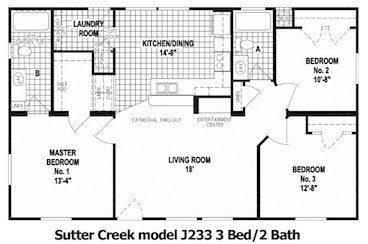 The Sutter Creek Floor Plan | Model J233 | Cousin Gary Homes